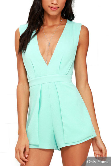 Mint-blue Plunge V-neck Sleeveless Open Back Playsuit