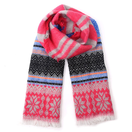 Rose Red Stripe Snowflake Pattern Warp Scarf with Tassel Detail