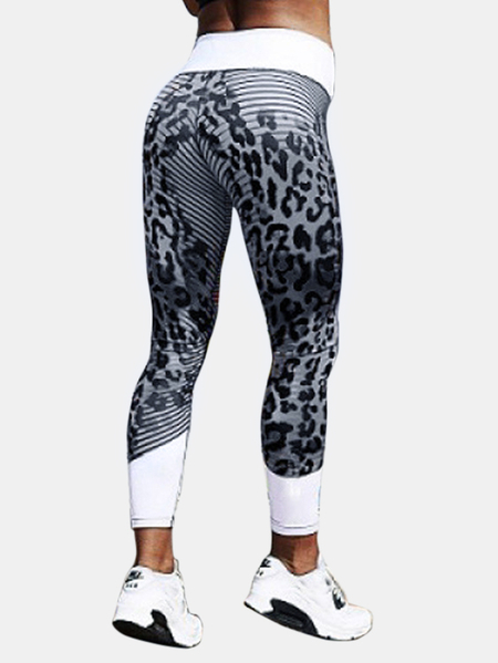 Active Random Printed Quick Drying Gym Leggings in Black