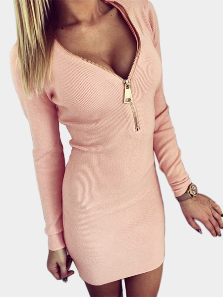 Pink Zip Design V neck Long Sleeves Dress