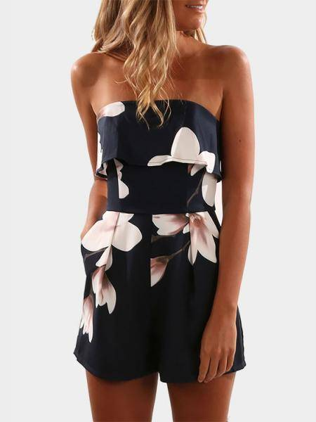 Off Shoulder Random Floral Print Zip Design Playsuit