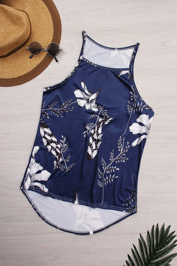High Neck Random Floral Print Cami Top in Navy