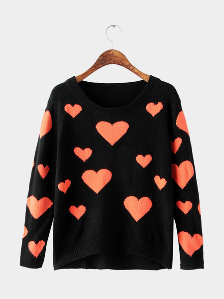 Heart Pattern Long Sleeve Knit Jumper