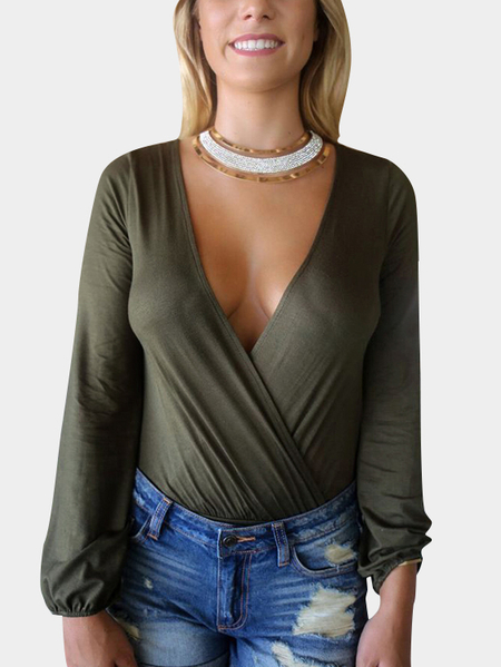 Army Green Sexy Green Wrapped Long Sleeves Bodysuit