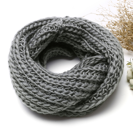 Grey Cosy Knitted Infinity scarf