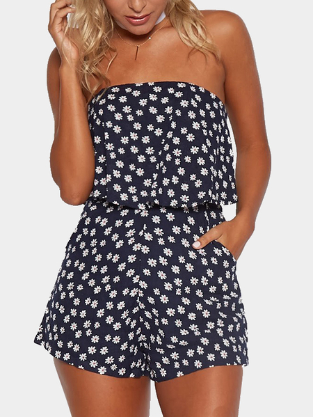 Navy Random Floral Print Strapless Playsuit