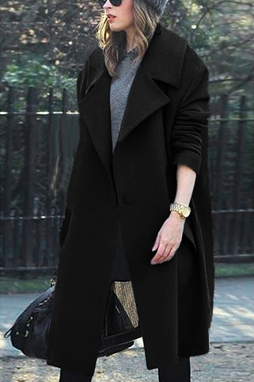 Black Lapel Collar Duster Coat with Flap Pocket
