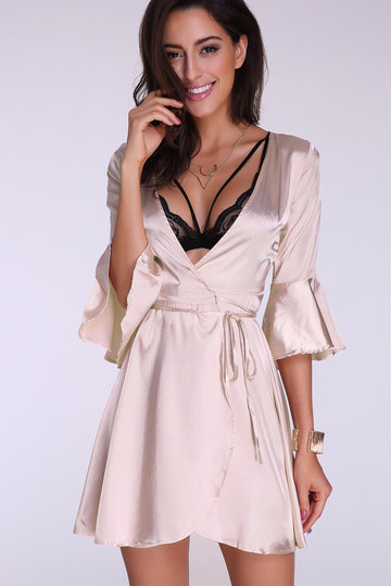 V-neck Flared Sleeves Mini Dress