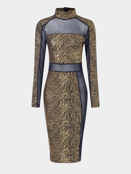 Gold See Through Design Crew Neck Long Sleeves Midi Dress