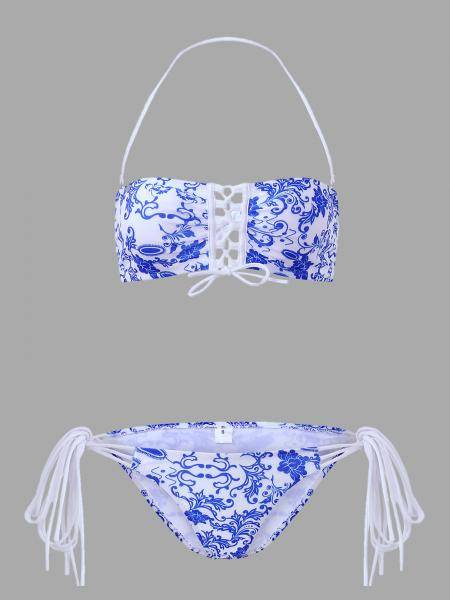 Random Blue and White Print Bikini Set