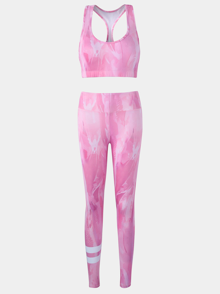 Active Random Print Vest & Leggings in Pink