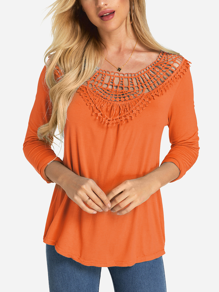 Orange Crochet Lace Embellished Round Neck Long Sleeves Top