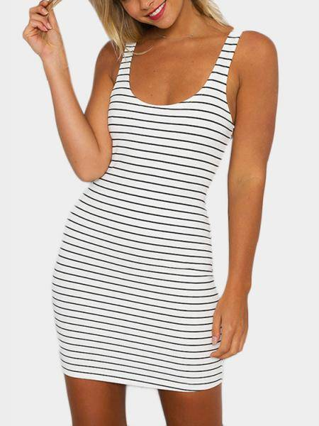 Vestido de cuello redondo Scoop Mini Bodycon en blanco