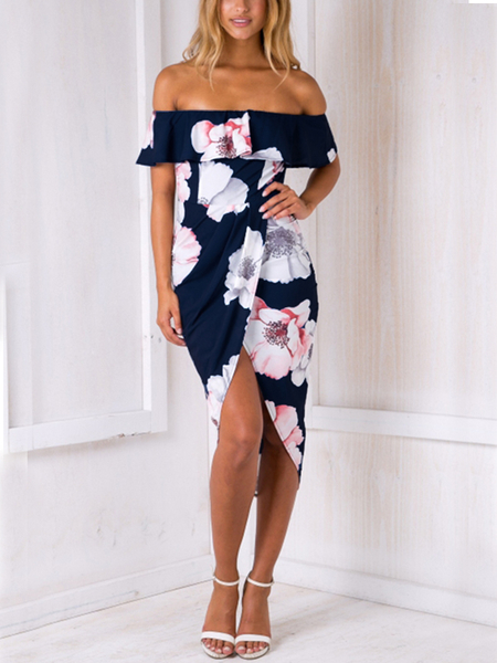 Sexy Random Floral Print Off Shoulder Irregular Hem Tiered Dress