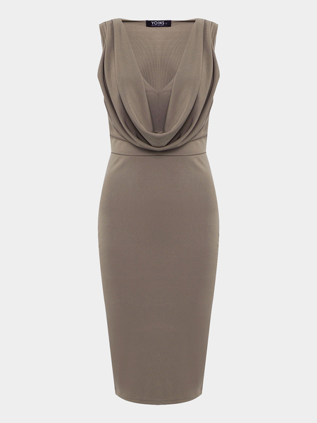 Khaki V-neck Pleated Midi Dress