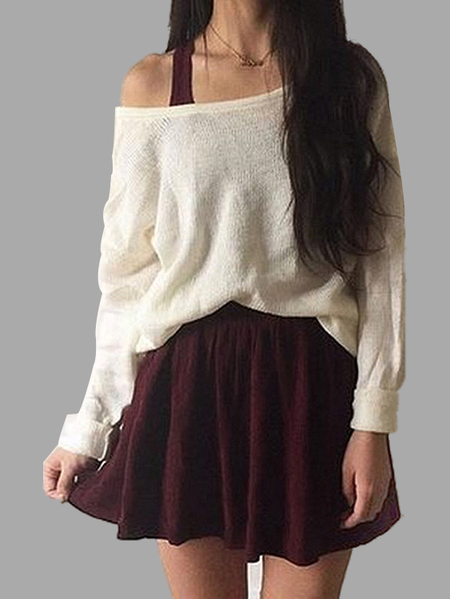 Pure Color Long Sleeve Fashion Knit Jumper