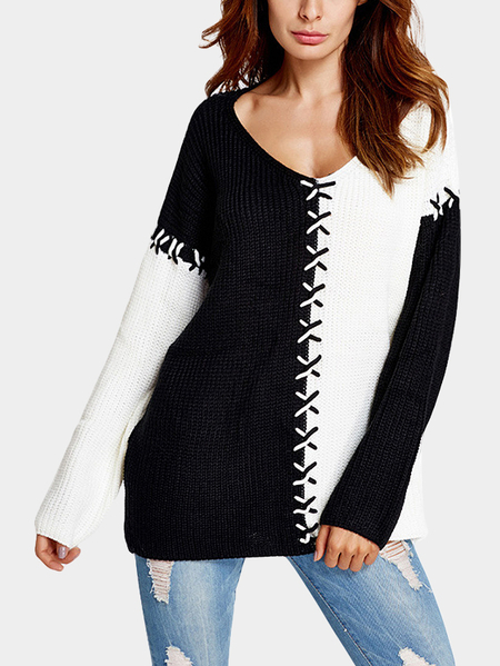 Black Lace-up Design V-neck Long Sleeves Sweaters