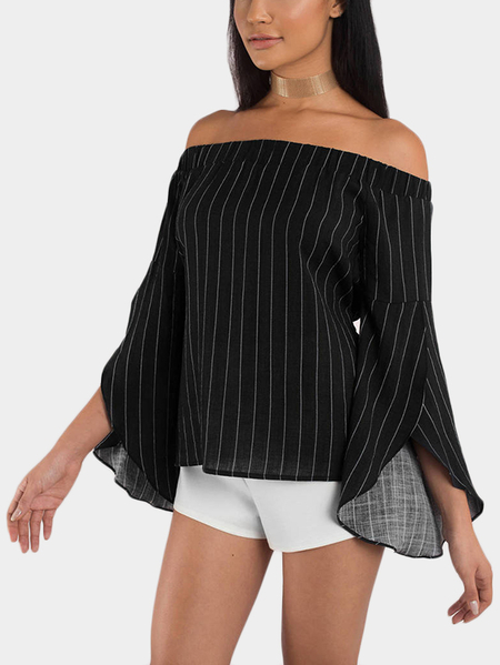 Black Stripe Off The Shoulder Flared Sleeves Top