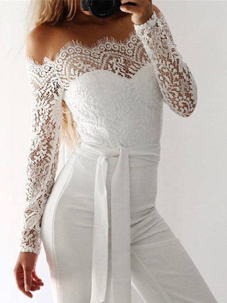 White Lace Detalhes Off The Shoulder Self-tie Jumpsuit