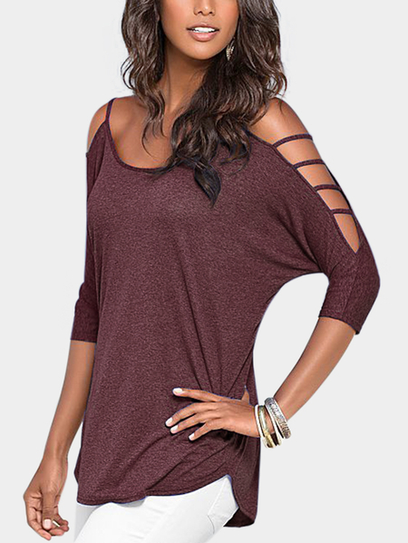Indian Red Cold Shoulder 3/4 Length Sleeve T-shirt with Strappy Detail
