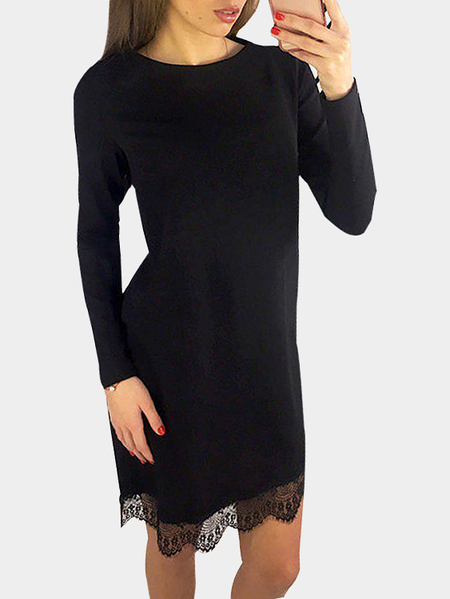 Black Casual Long Sleeves Round Neck Lace Hem T-shirt Dress
