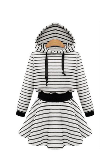 Plus Size White Stripe Hooded Skater Dress
