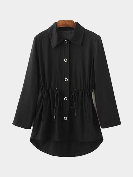 Black Trench Coat With Embroidery Pattern