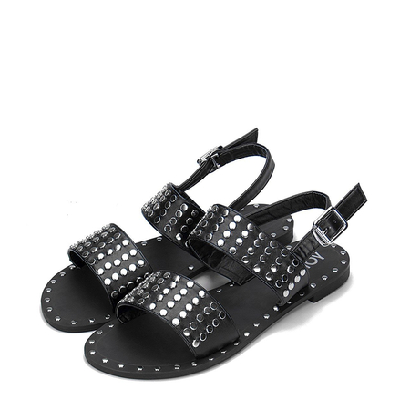 Black Glod-tone Studding Leather Look Flat Sandals