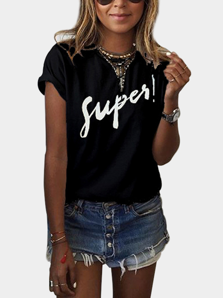 Black Basic Round Neck SUPER Letter Print Tee