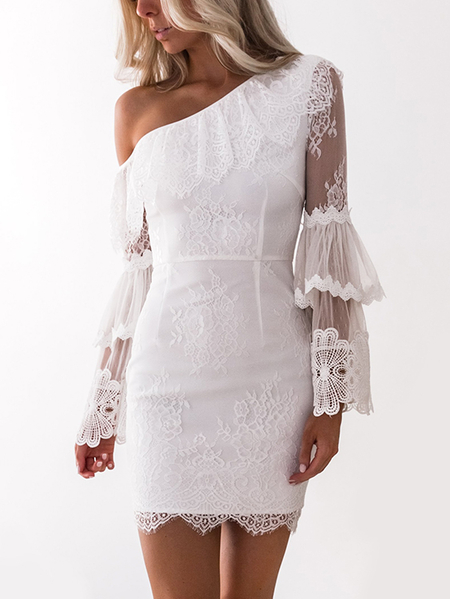 White One Shoulder Side Zipper Sheer Double Layered Sleeves Lace Dress