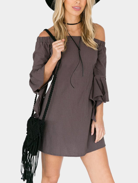 Grey Off-shoulder Flared Sleeves Casual Dress