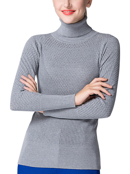 Grey Hollow Out High Neck Jumper