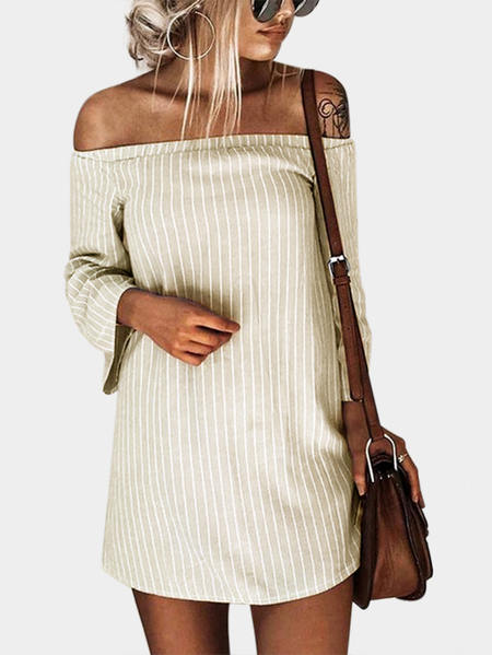 Beige Sexy Off Shoulder Lace Up Stripe Pattern Mini dress