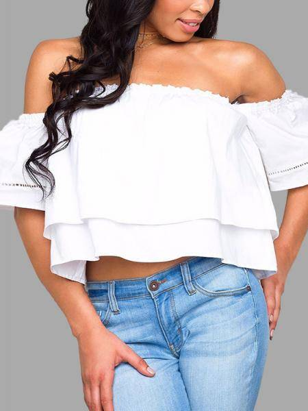 White Off-The-Shoulder Overlay Top
