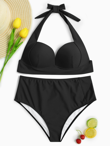 Black Halter V-neck Padded Design High-waist Bikini Set