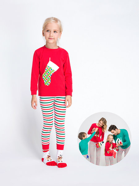 Basic Stripe & Print Family Matching Christmas Pajamas Outfits-Girl