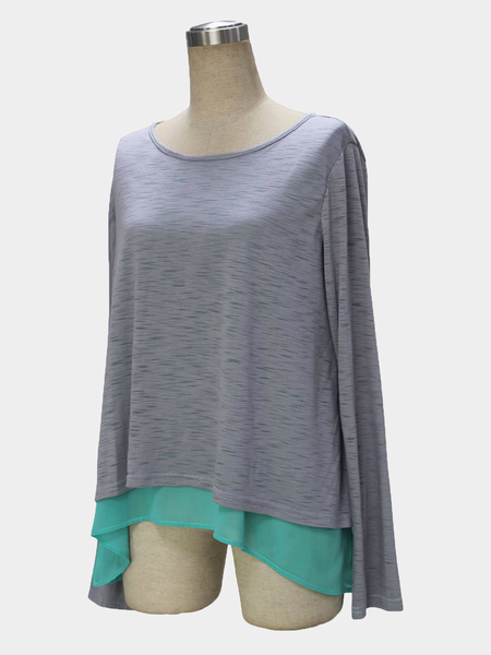 Long Sleeves Two-in-one Knitted Top
