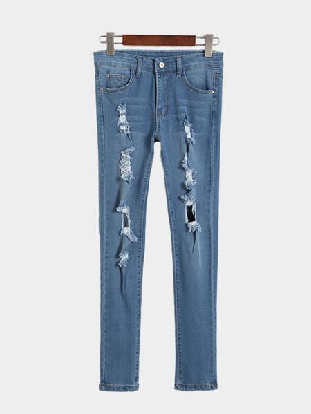 Blue Ripped Detailings Skinny High-waist Jeans