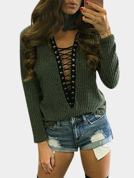 Army Green High Neck Hollow Lace-up Front Knitted Top