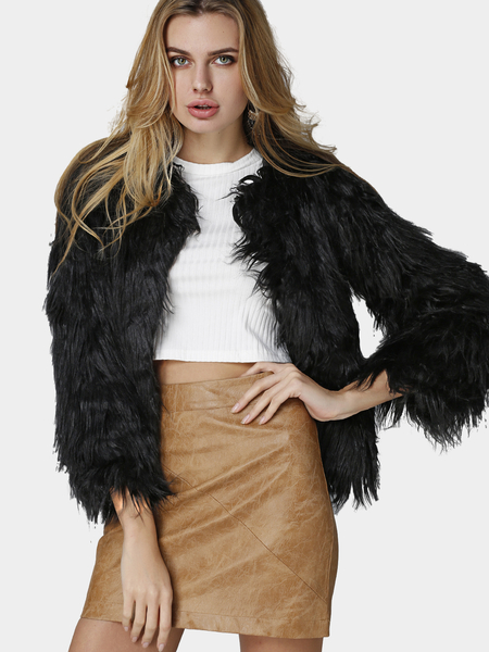 Black Fashion Long Sleeves Artificial Fur Coat