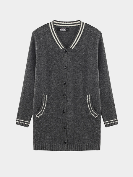 Knit Cardigan with Stripe Details