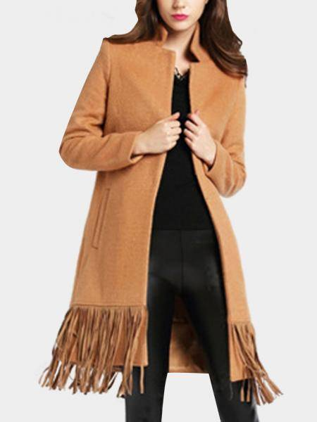 Tan Lapel Collier Duster Manteau avec Tassel Hem