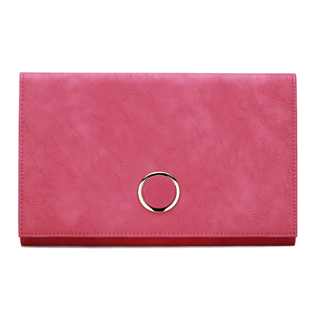 Fuchsia Leather-look Metal Ring Accent Clutch Bag with Shoulder Strap