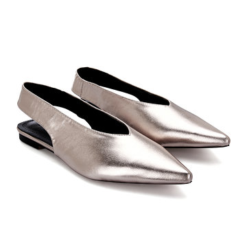 Couro Look Pointed Toe Slingback Flats
