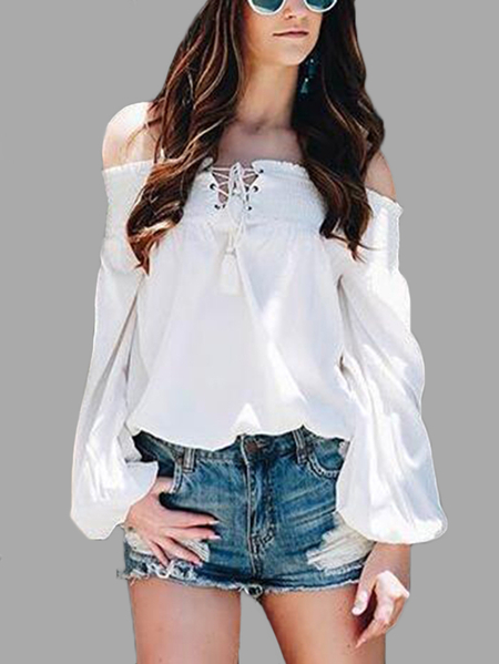 White Lace-up Elastic Off Shoulder Lantern Sleeves Casual Chiffon Blouse