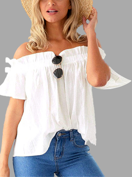 Off-The-Shoulder Frill Design Top in Bianco