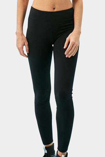 Active Net Yarn Patchwork Design Quick Drying High Waisted Leggings in Black