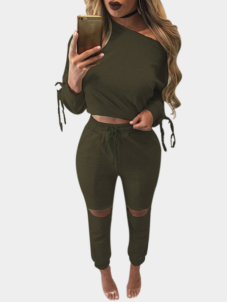 Dark Green Lace-up Design Crop Top & Drawstring Waist Pants Suits