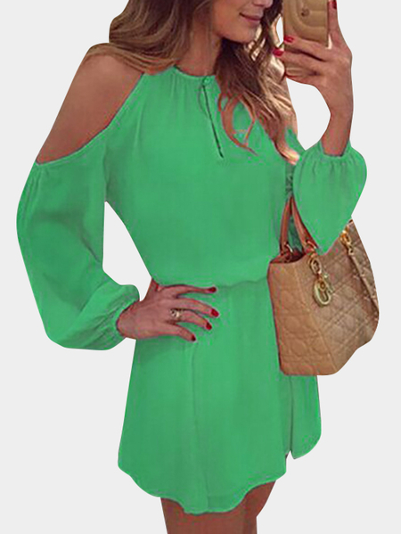 Green Cold Shoulder Long Sleeves Chiffon Dress with Open Back Design