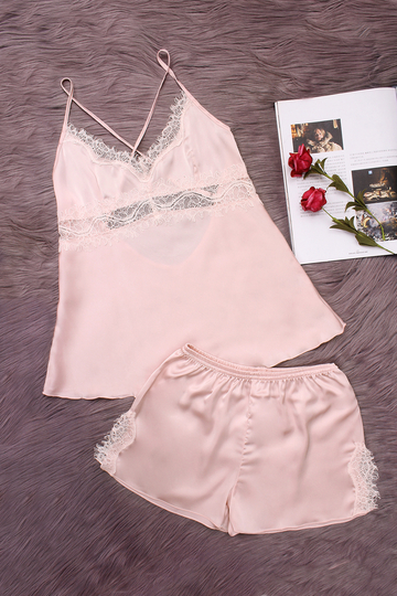 Pink Hollow Out Lace detalhe V-neck Crossed Slip Pijamas